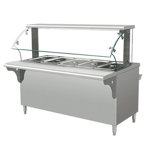 五格保温售饭台(带玻璃罩)